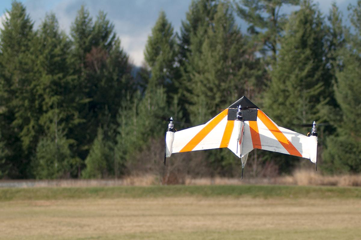 The X PlusOne functions as both a hovering quadcopter and a forward-flying fixed-wing aircraft