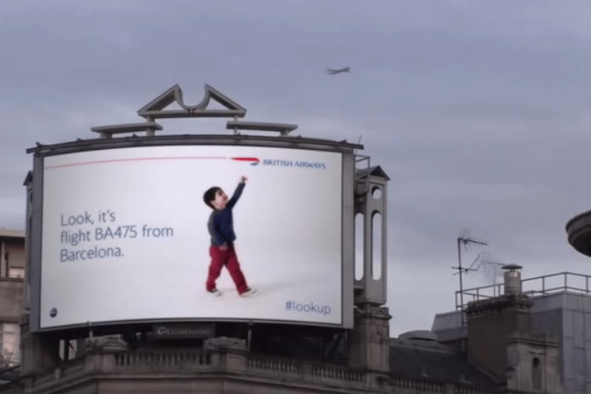 The new billboard identifies incoming British Airways flights