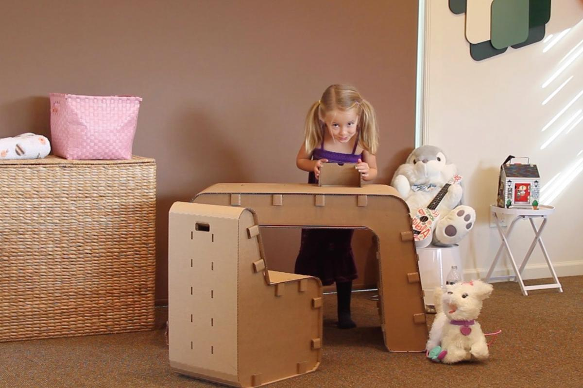 Once completed, Kids Imagination Furniture can be used as a normal desk and chair