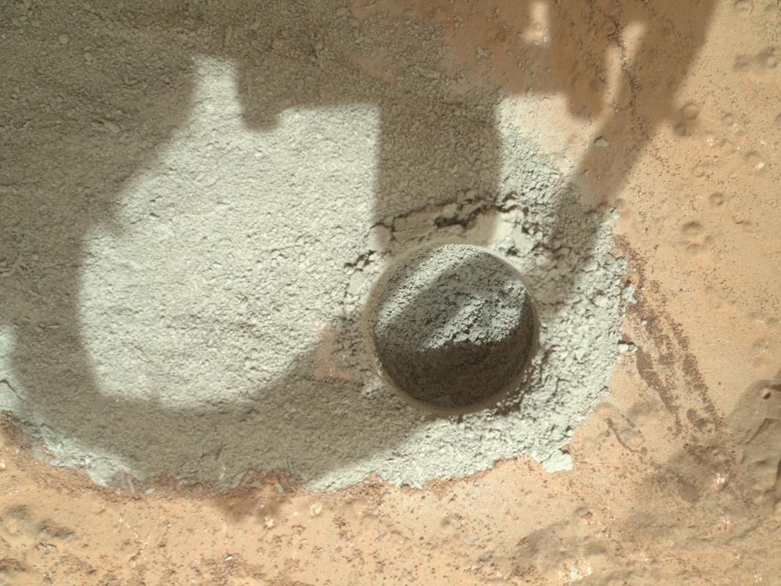 """Mini drill"" test by NASA's Mars rover Curiosity (Image: NASA/JPL-Caltech/MSSS)"