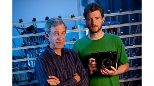 Marc Levoy, professor of Computer Science and of Electrical Engineering and graduate student Andrew Adams with the open source camera