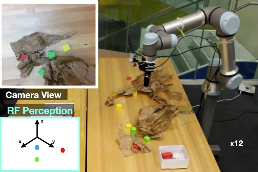 The RF-Grasp robot uses a combination of RFID technology and an optical camera to locate hidden items