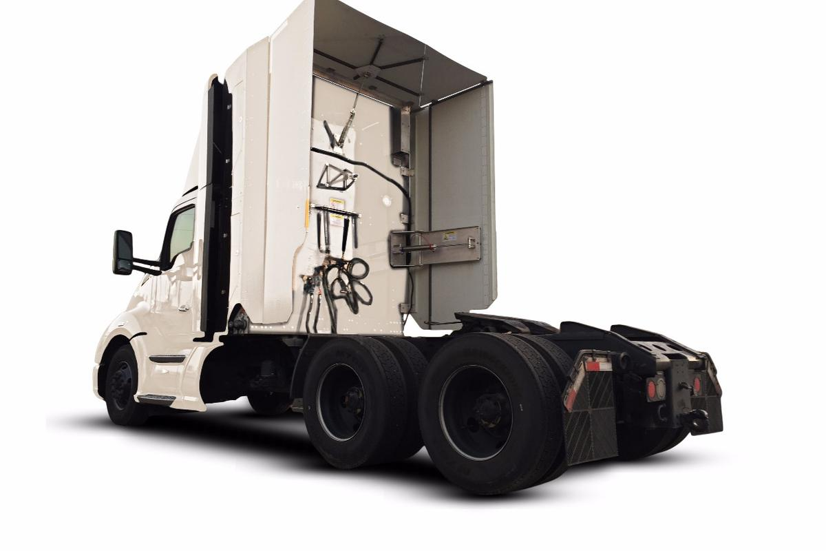 TruckWings incorporates folding panels attached to the rear sides and roof of the cab that automatically swing out to close the cab-to-trailer gap at highway speeds
