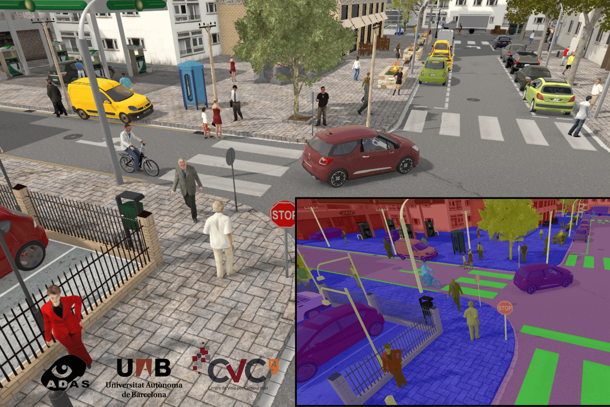 The city simulation can provide accurate labeling of trees, sidewalks and road crossings to help train the AI of self-driving cars