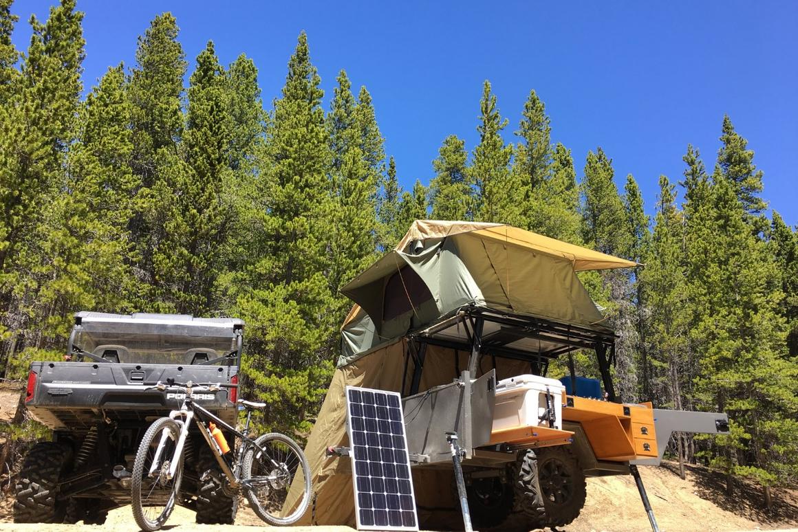 The Timberline trailer can be equipped with a solar charging system to keep the battery running