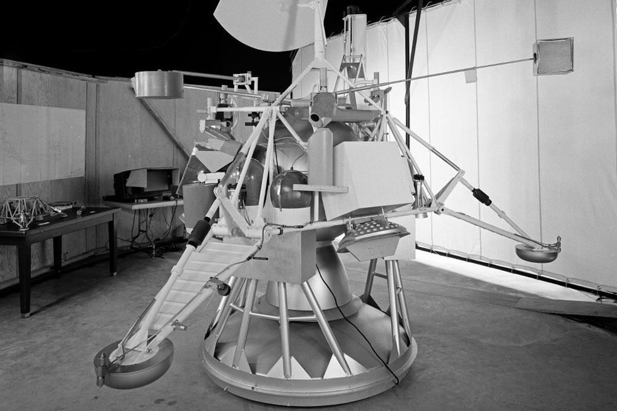 A model of the Surveyor lander, whose booster may have taken up a temporary orbit around Earth