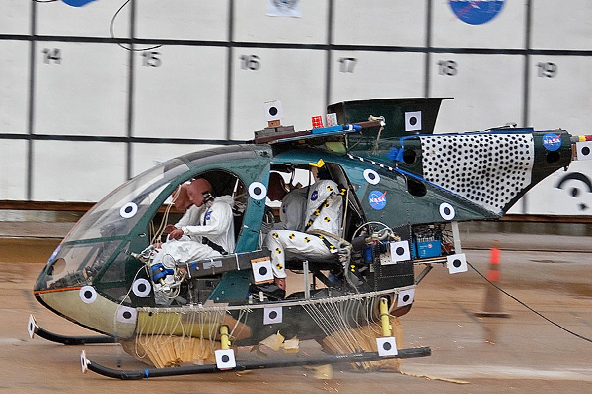 """A sort of """"honeycomb airbag"""" created to cushion future astronauts may end up in helicopters to help prevent injuries (Photos: NASA/Sean Smith)"""