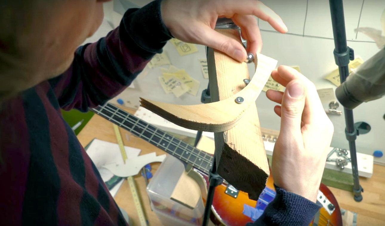 Martin Molin testing an improved accuracy version of the bass guitar component for the upcoming Musical Marble Machine X
