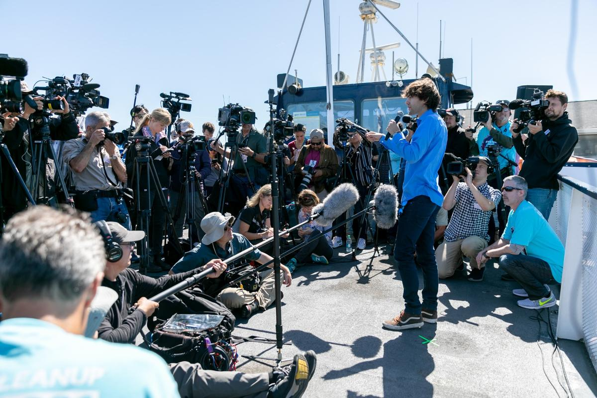 Boyan Slat addresses the media at the launch of his Ocean Cleanup system