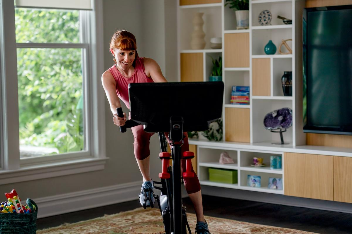 The Bowflex VeloCore can be used in its Leaning Mode (pictured) or a more traditional Stationary Mode
