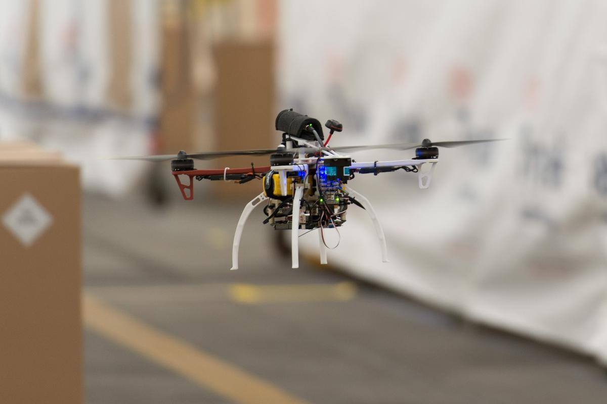 The quadcopter reached speeds of 20 m/s (45 mph)