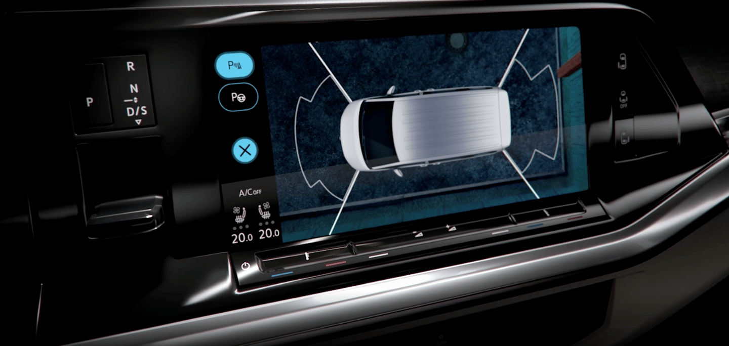 Along with the shift switch on the left, Volkswagen previews a 10-in infotainment screen with available 360-degree vehicle monitoring