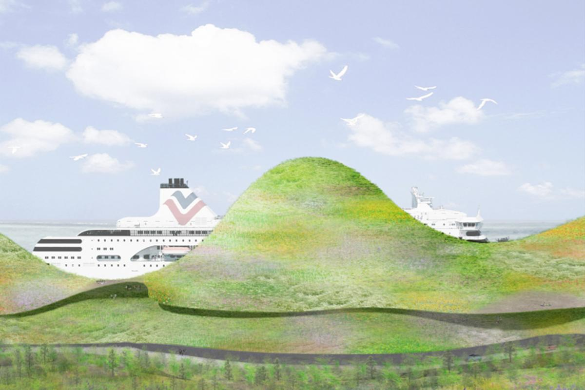 Junya Ishigami's concept for the new Kinmen Passenger Service terminal is essentially a man-made mountain range with three-level ferry terminal inside