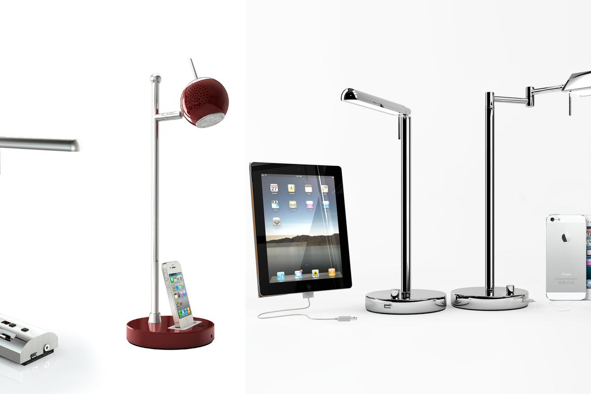M&C Lighting has added two new models to its range of LED desk lamp which all feature integrated device charging ports or iPod/iPhone docks