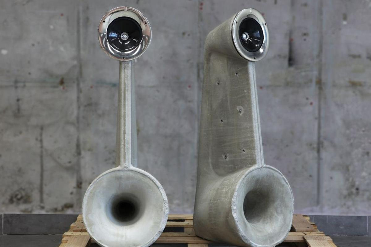 The 'Exposed' speakers are made of concrete, and utilize horn loudspeaker technology (Photo: Shmuel Linski)