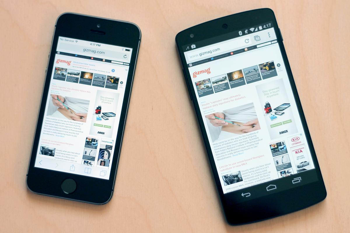 Gizmag goes in-depth and hands-on to compare the Apple iPhone 5s (left) and Google/LG Nexus 5