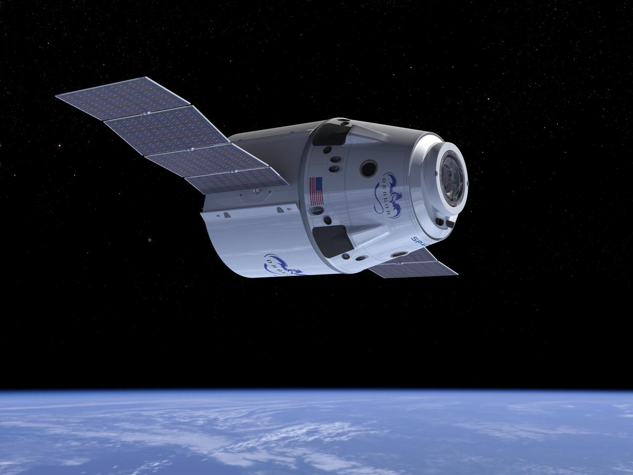 Artists impression of Dragon in orbit