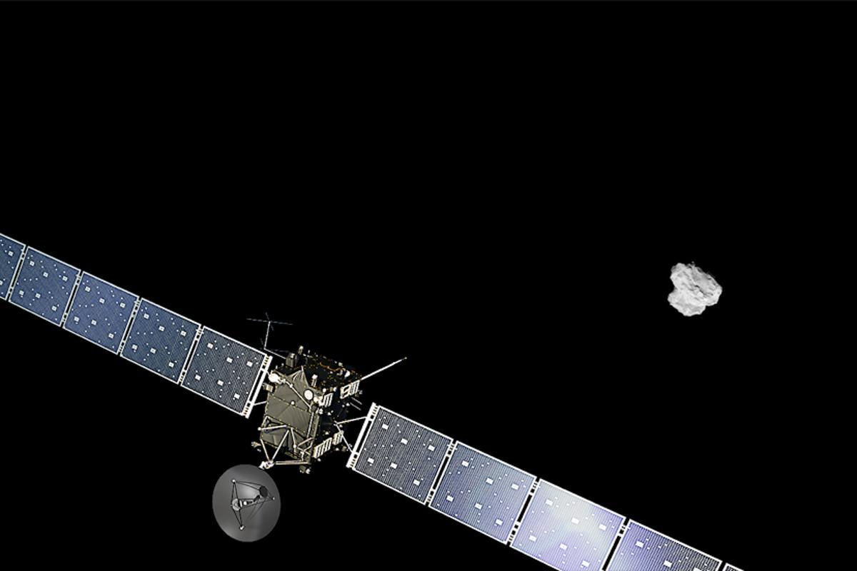 Artist's concept of Rosetta approaching comet 67P