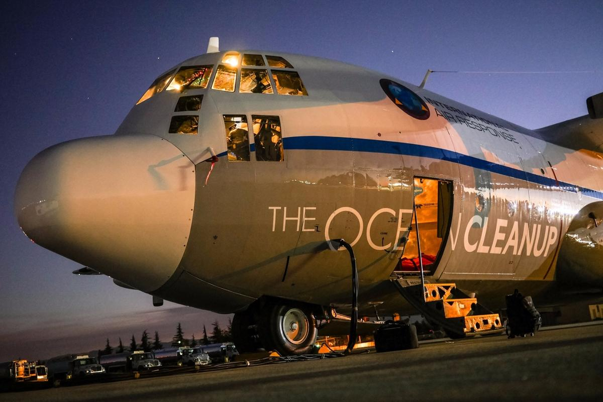 The Ocean Cleanup's Aerial Expedition is using a modified C-130 Hercules aircraft