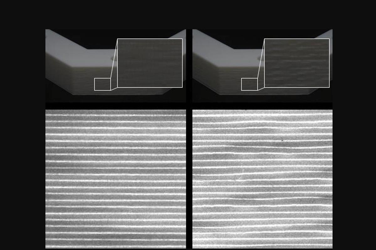 Scanned images of normally-deposited layers within a 3D-printed object (left) alongside layers printed utilizing the new technique