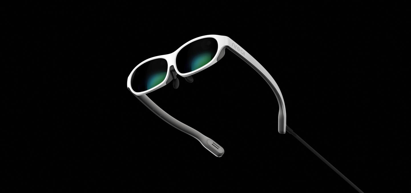The nReal Light mixed reality glasses connect to a phone or laptop