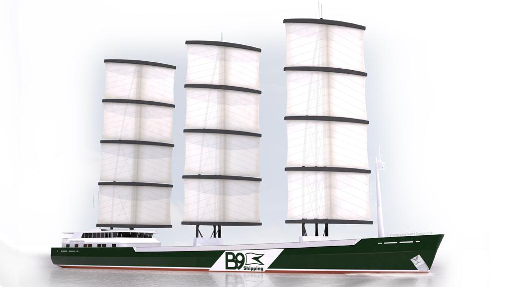 B9 Shipping's sailing cargo ships would feature a Dyna-rig sail system