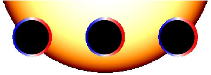 The planet HD 189733 at three positions as it crosses its parent star
