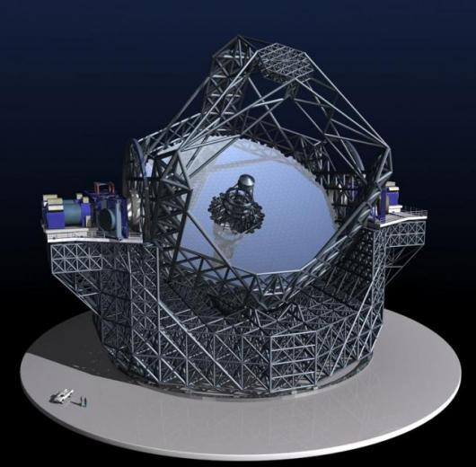 Birds eye view of the elaborate 3-dimensional model of the European Extremely Large Telescope.