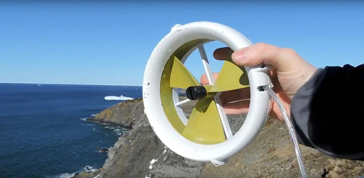 The Waterlily is a portable turbine that can charge devices through the power of wind or water
