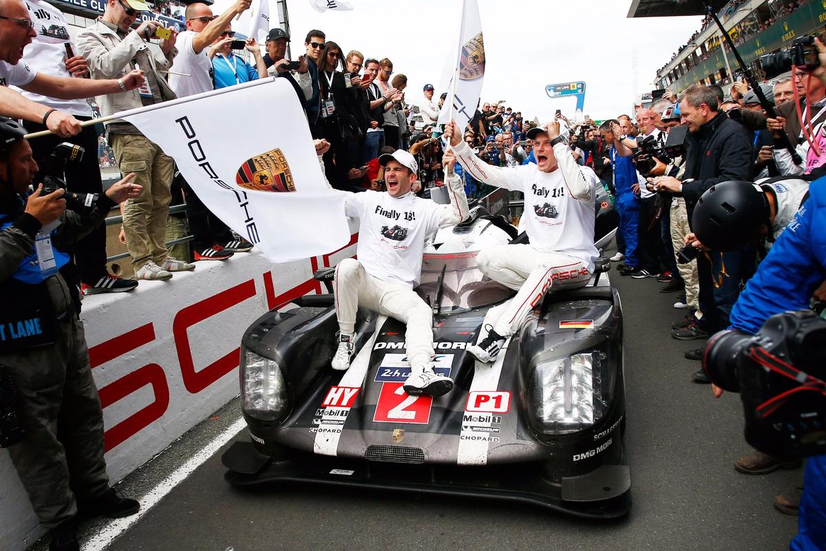 Victory celebrations for Porsche at Le Mans
