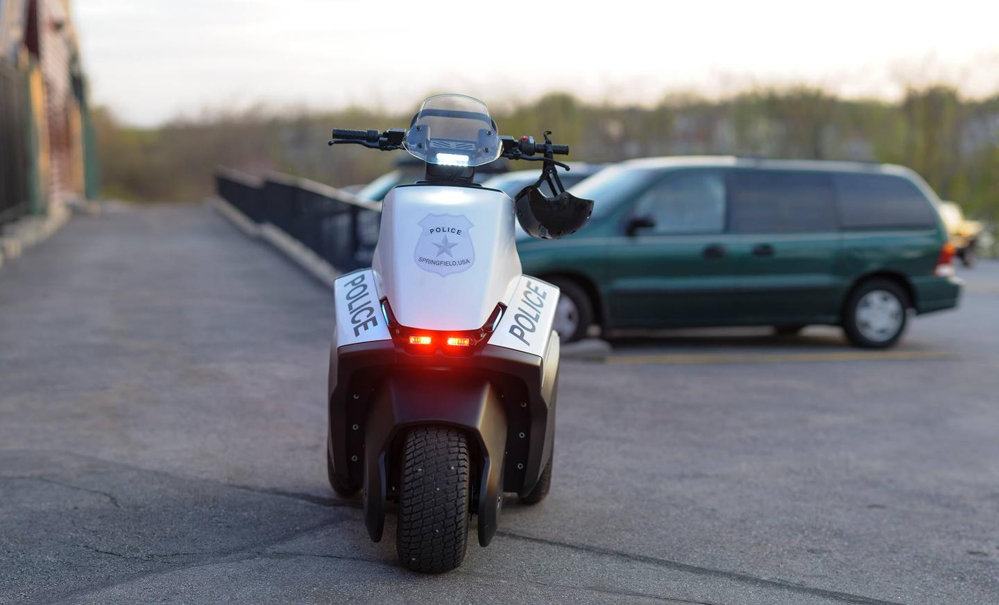 The SE-3 Patroller has independent direct rear wheel electric drive, Whelen emergency lights and siren, and LED headlight