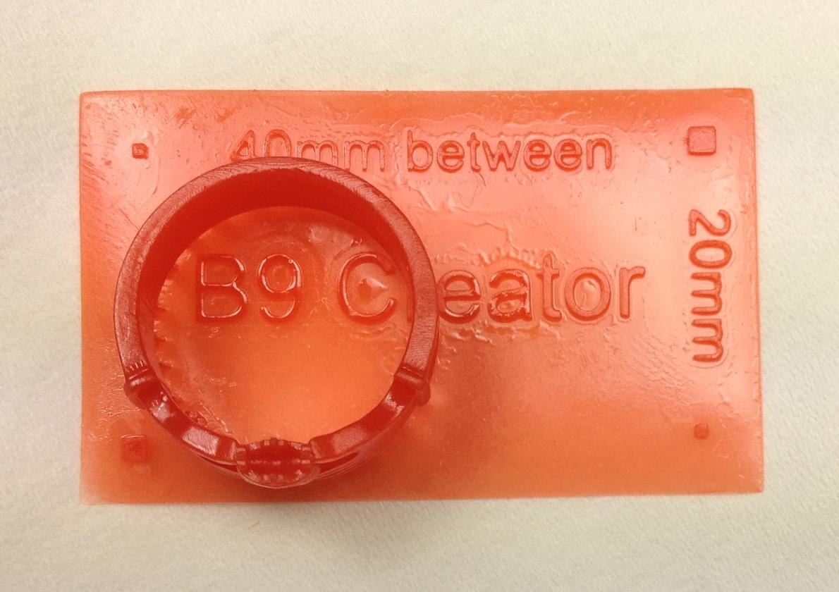 Ring and size guide printed by the B9Creator (Photo: Carter Lee)
