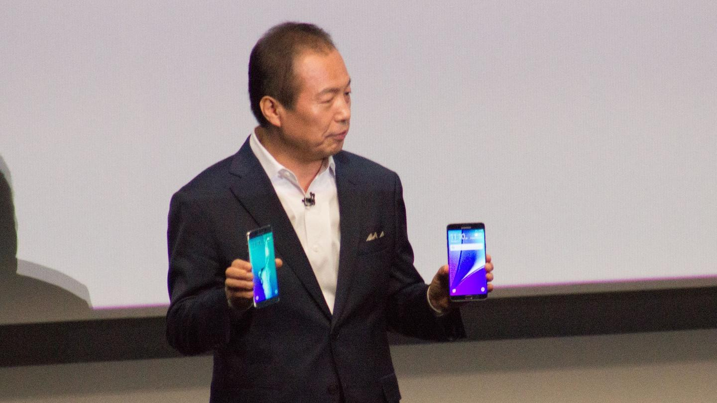Samsung Electronics President JK Shin introducing the Galaxy Note 5 and Galaxy S6 Edge+