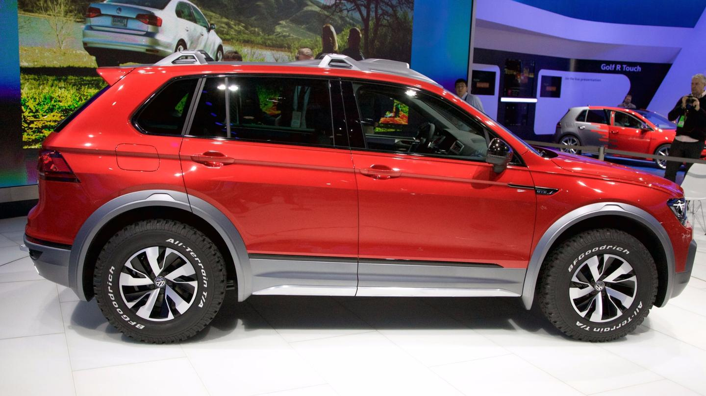 The Tiguan GTE Active Concept combines a gasoline engine with two electric motors and all-wheel drive