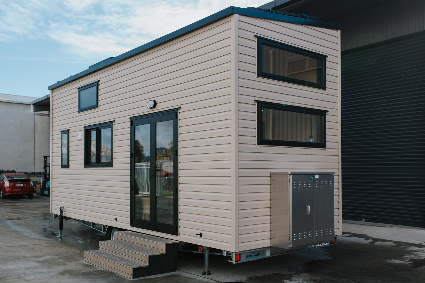 The Daisy Vera Tiny House was delivered as a turnkey build, including furniture and appliances, but not including the solar gear, for NZD 142,000