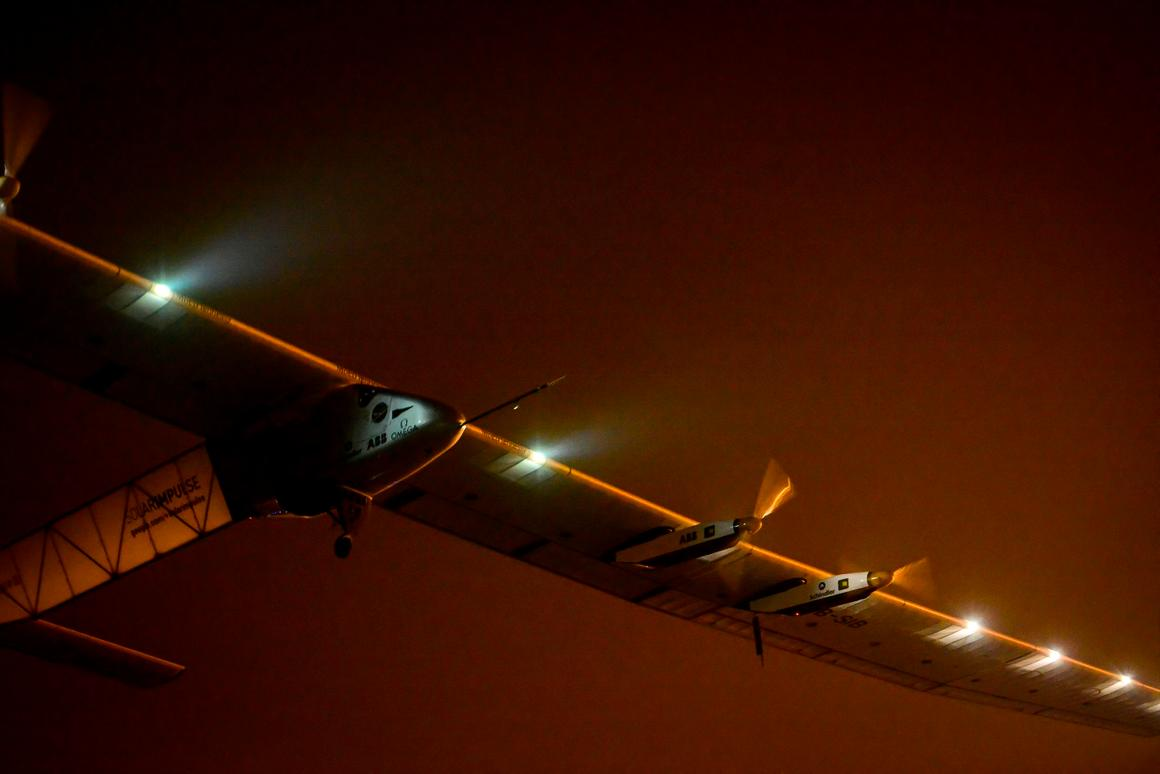Solar Impulse 2 taking off from Nanjing, China towards Hawaii