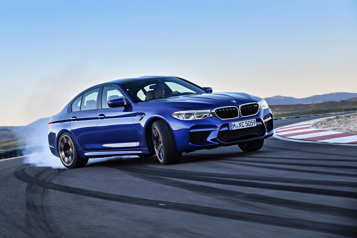 The BMWM5 is all-wheel drive, but it'll still hang the tail out
