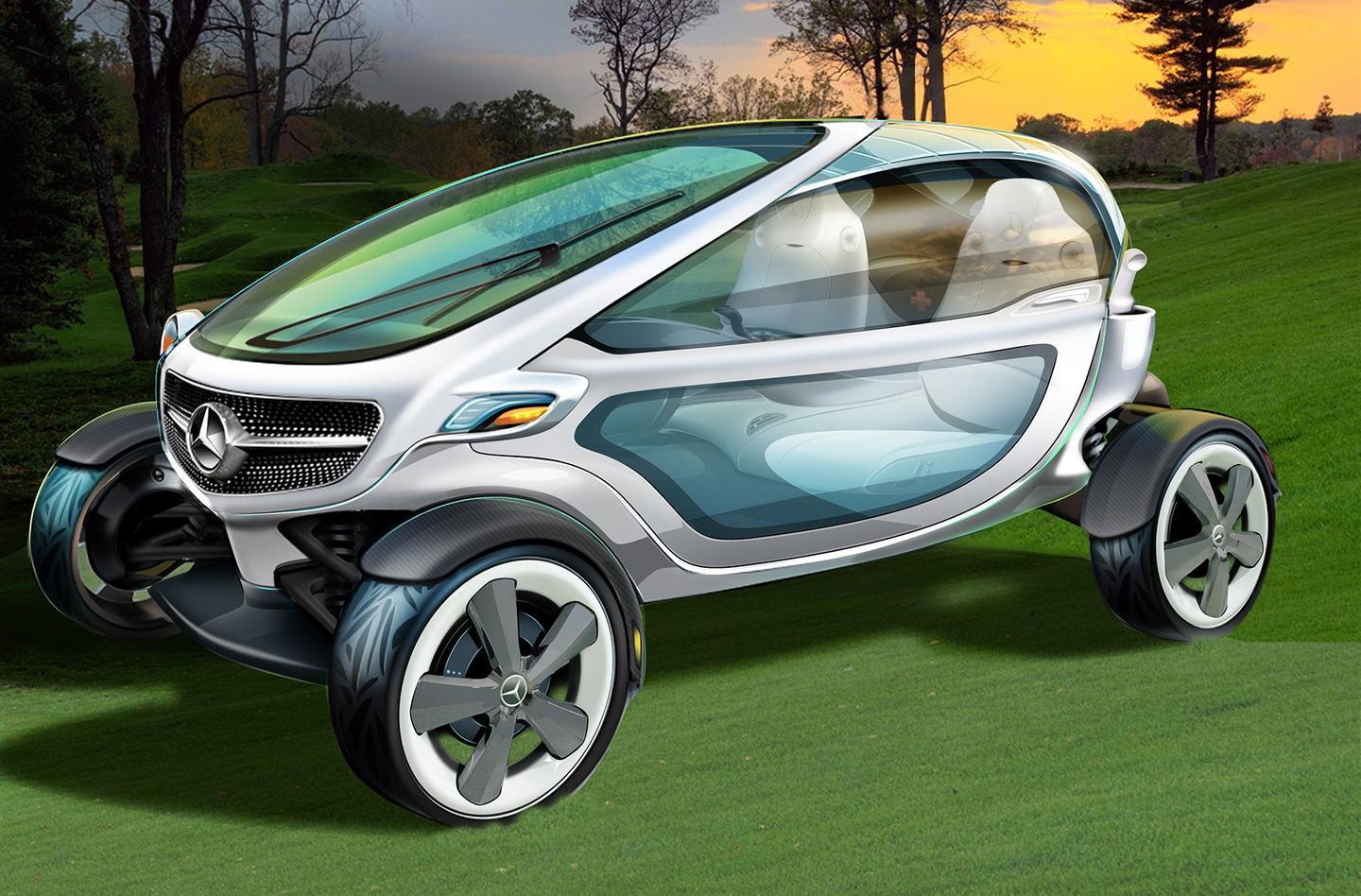 The Mercedes Vision Golf Cart includes two removable click-on doors