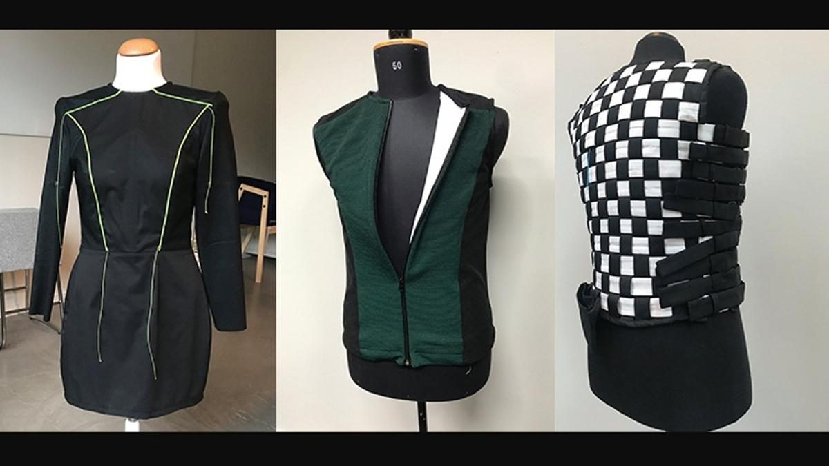 Some of the SUITCEYESprototypes, including the most-recently-created checkerboard vest