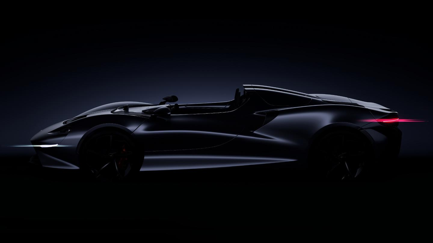 McLaren has released just one image of the new Ultimate Series model, which shows that it will be in the classic roadster proportions, built to be low and wide