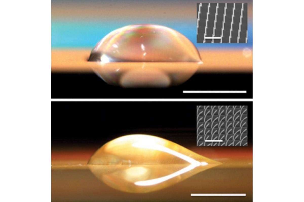 A symmetrical droplet (top) forms on a surface with straight nano-pillars, while on a surface with bent pillars (bottom) the droplet extends out only to the right (Images: Kuang-Han Chu, Rong Xiao and Evelyn N. Wang)