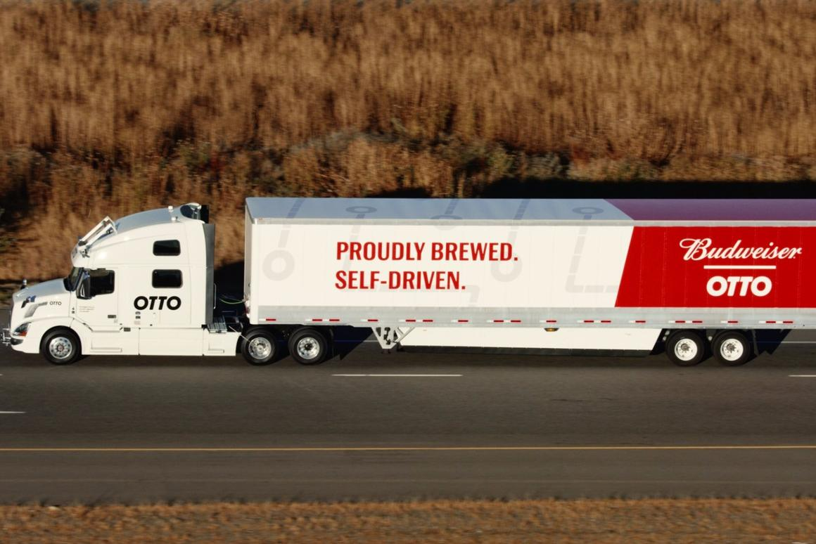 The Otto truck that delivered a shipment of Budweiser, is finished in a special livery