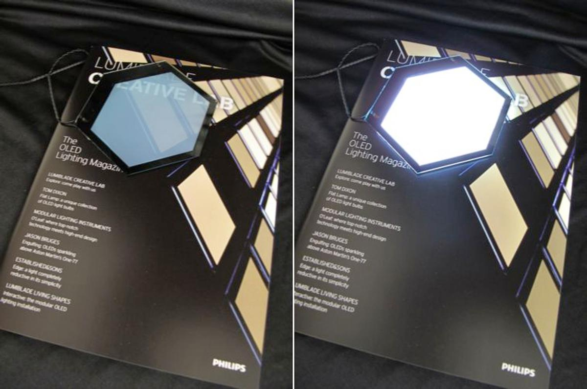 A sample of the OLED roof panel material, that can switch between being transparent and emitting light