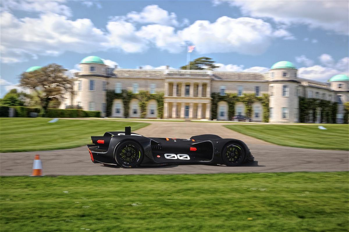 The Robocar undergoing testing on the grounds of Goodwood House ahead of a self-driving hill climb attempt at the 2018 Festival of Speed