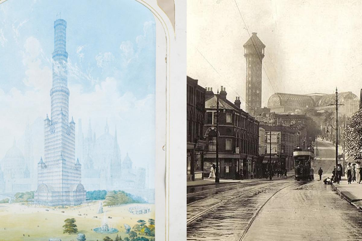 Charles Burton's historic skyscraper design (left) and the Crystal Palace in 1910