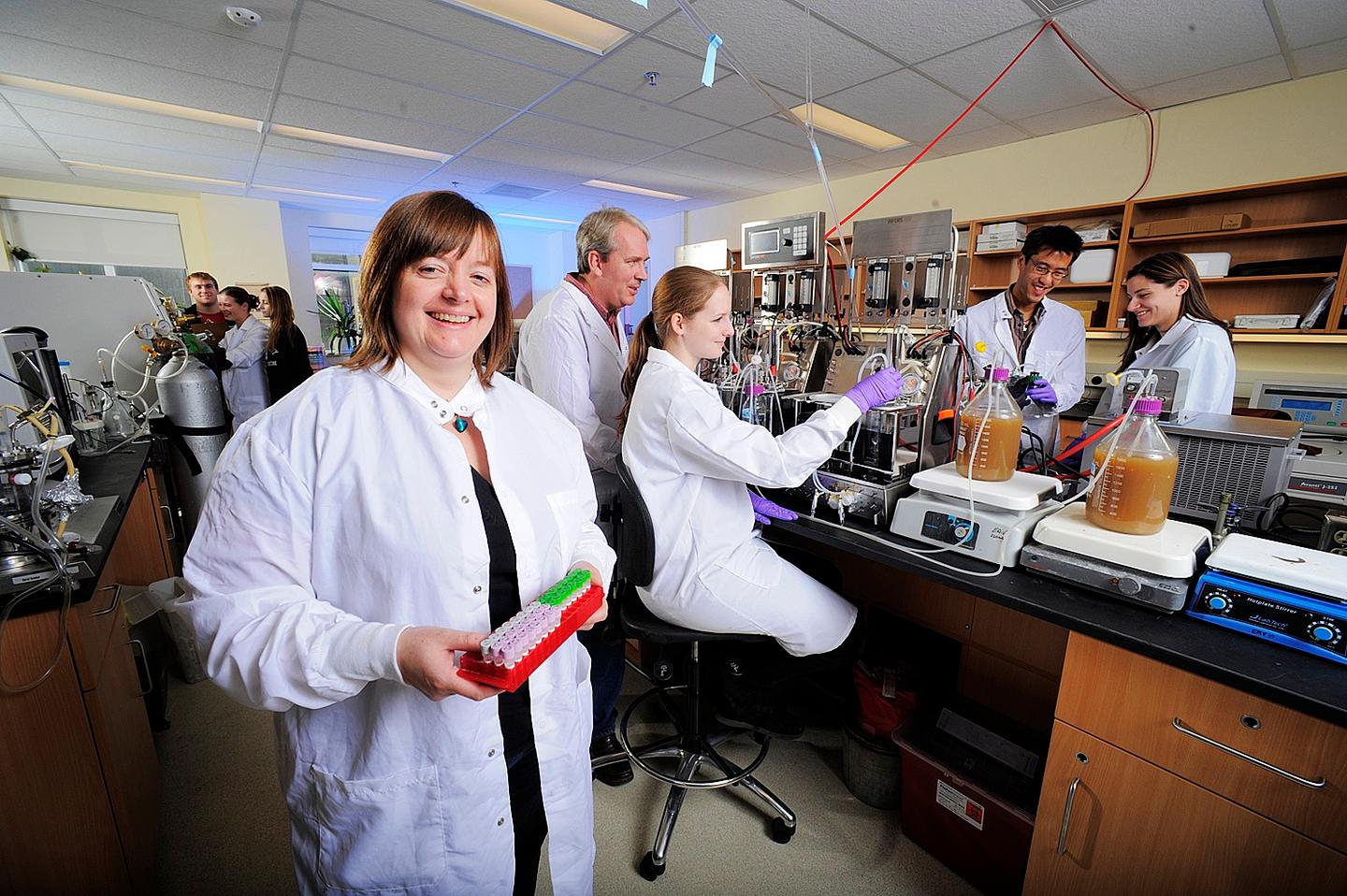 Microbiologist Emma Allen-Vercoe and her lab team, whipping up a batch of RePOOPulate