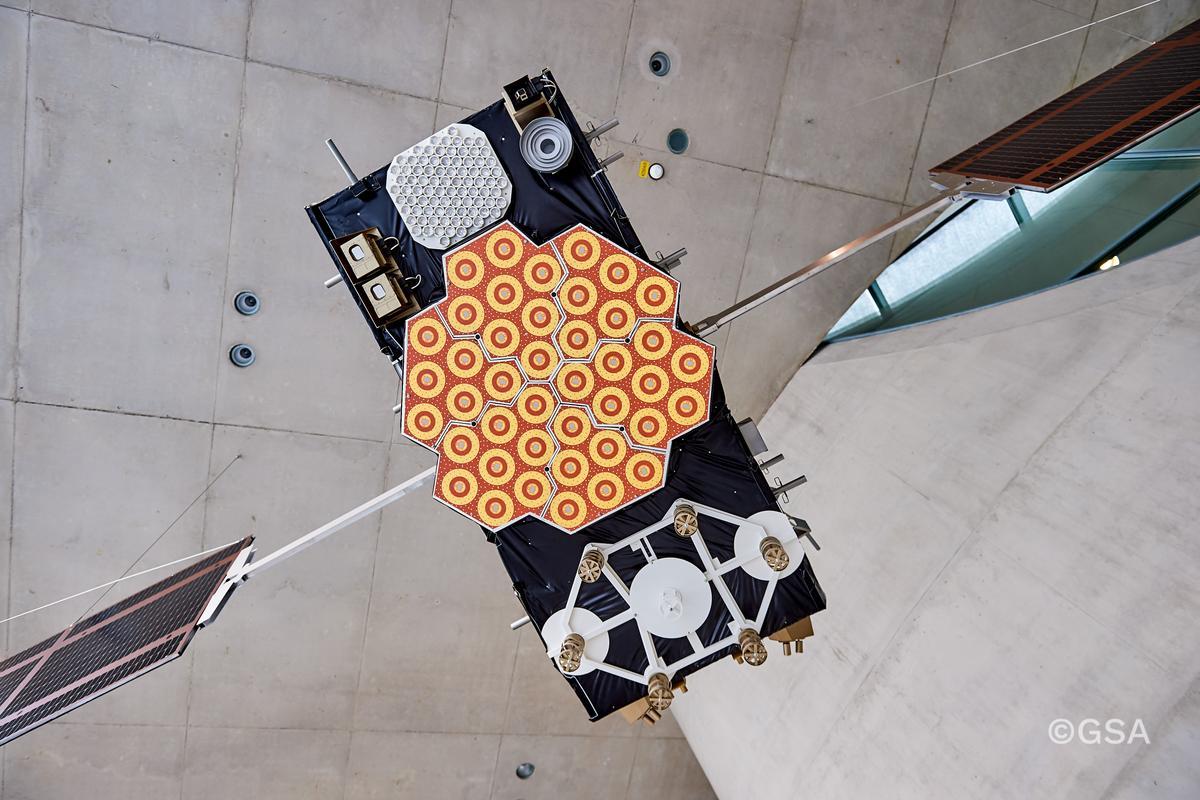 Model Galileo satellte at the system's Control Centre at Oberpfaffenhofen