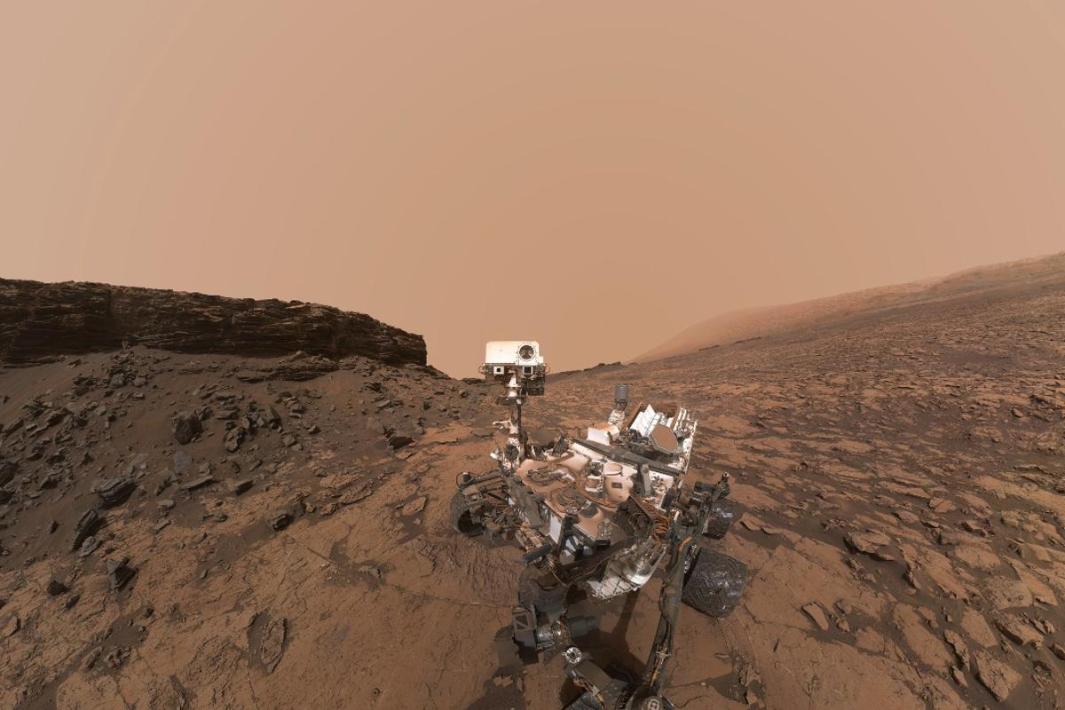 The Curiosity rover, seen here snapping a selfie in 2016, has turned its camera to the sky and taken some shots of fast-moving clouds in the Red Planet's atmosphere