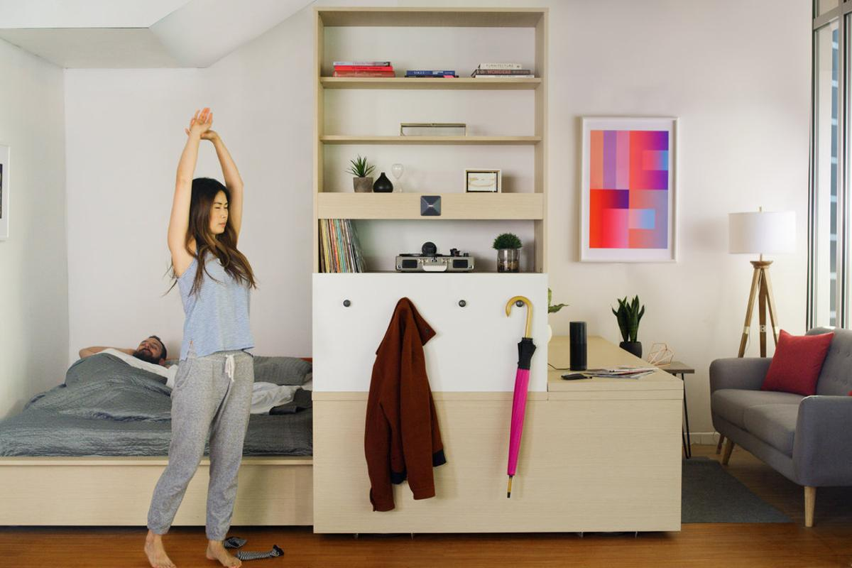 Ori Systems created a modular, robotically controlled furniture unit that can switch between bedroom, office and living room configurations