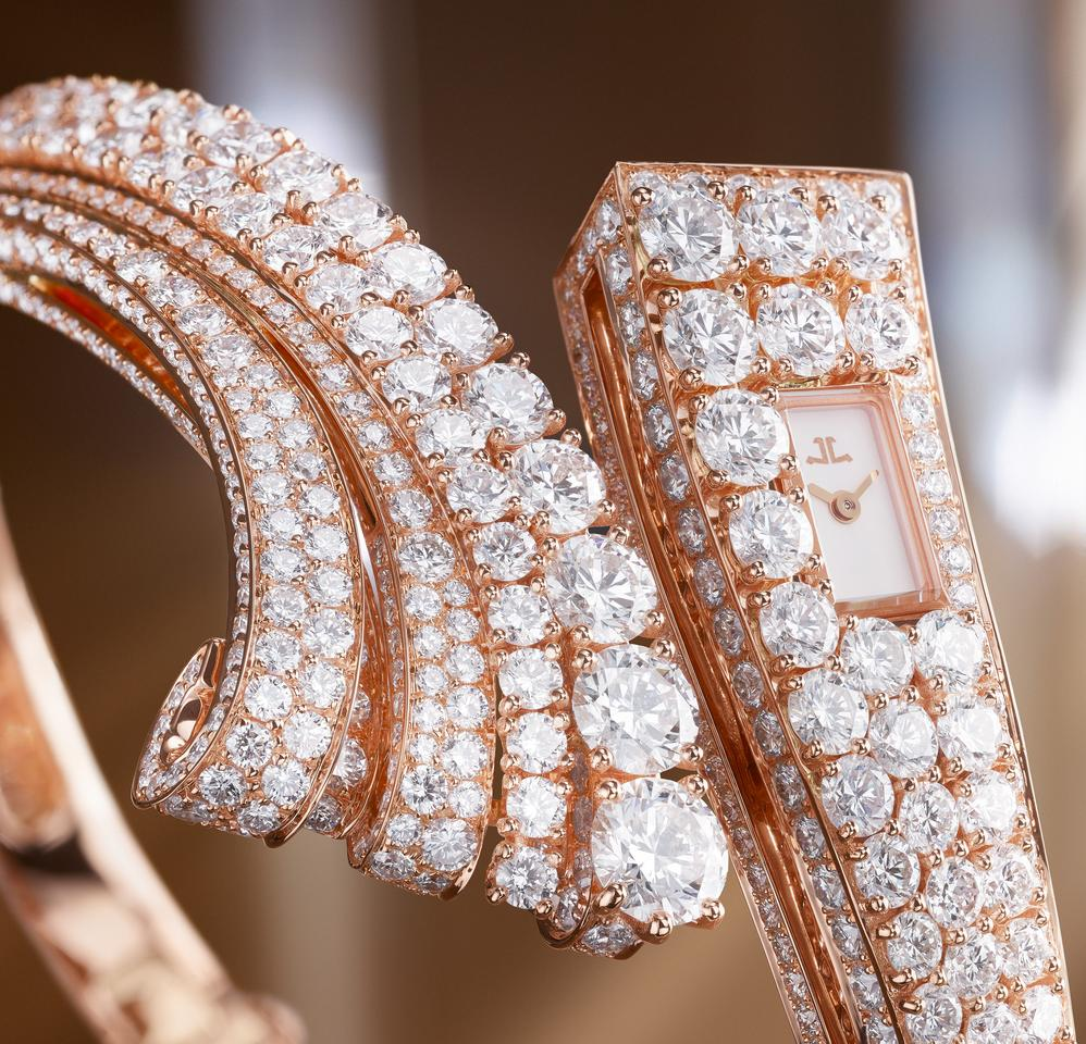 The Bangle places a microscopically tiny watch in an asymmetrical wristband featuring nearly a thousand diamonds